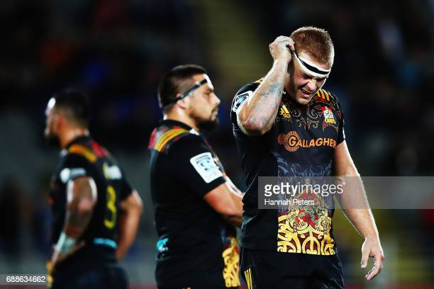 Sam Cane of the Chiefs shows his frustration during the round 14 Super Rugby match between the Blues and the Chiefs and Eden Park on May 26 2017 in...