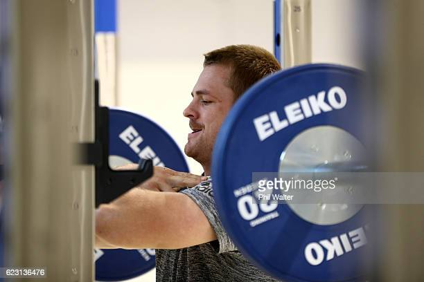 Sam Cane of the New Zealand All Blacks squats during a gym session at the Irish Institue of Sport on November 14 2016 in Dublin Ireland
