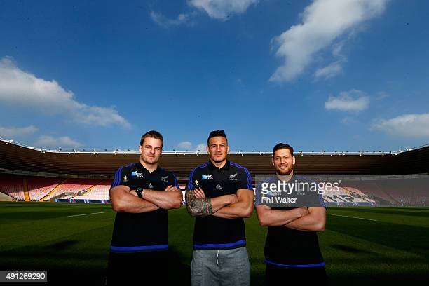Sam Cane Sonny Bill Williams and Tawera Kerr Barlow before a New Zealand All Blacks media session at Mowden Park on October 4 2015 in Darlington...