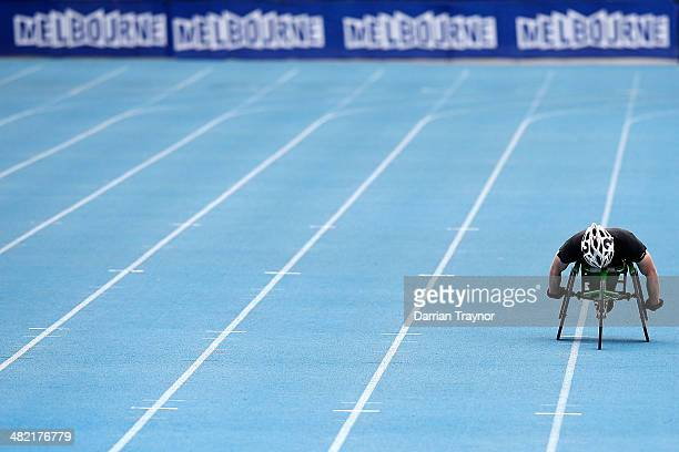 Sam Carter of Queensland competes in 800 metres Wheelchair during the 92nd Australian Athletics Championships at Olympic Park on April 3 2014 in...