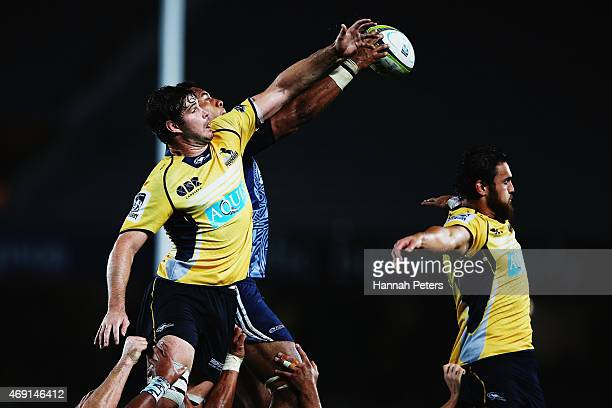 Sam Carter of the Brumbies wins lineout ball during the round nine Super Rugby match between the Blues and the Brumbies at Eden Park on April 10 2015...
