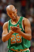 Sam Cassell of the Boston Celtics looks on during the game against the New Orleans Hornets at the New Orleans Arena March 22 2008 in New Orleans...