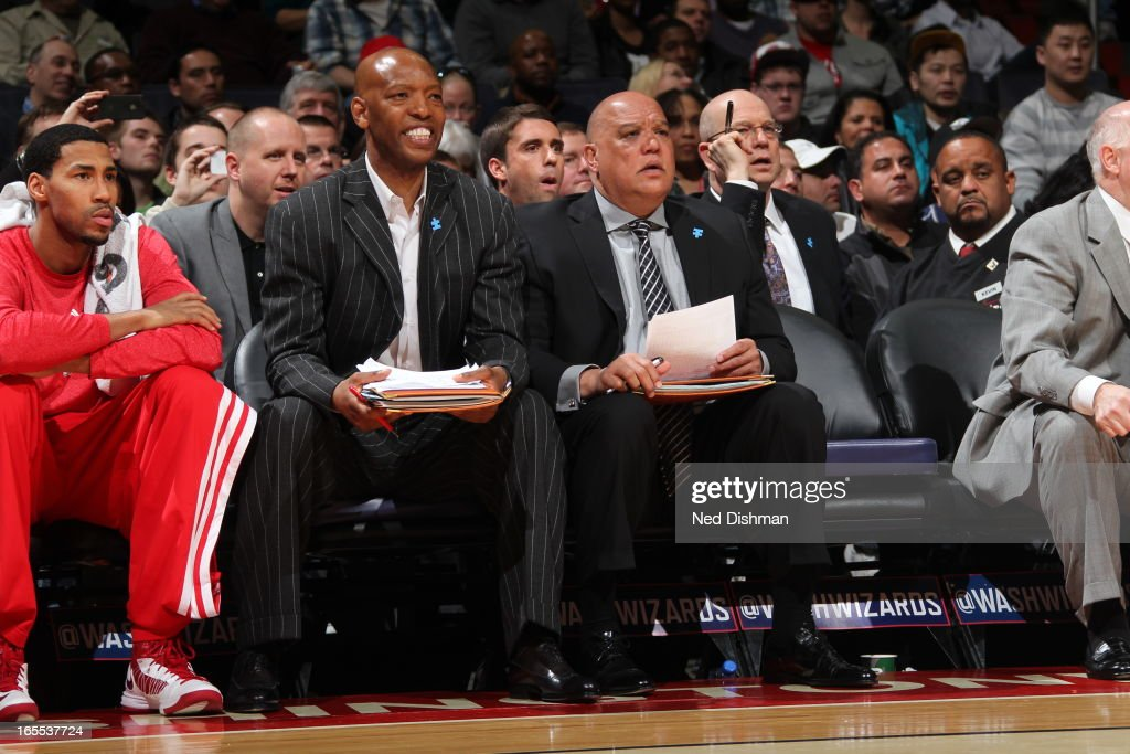 <a gi-track='captionPersonalityLinkClicked' href=/galleries/search?phrase=Sam+Cassell&family=editorial&specificpeople=201572 ng-click='$event.stopPropagation()'>Sam Cassell</a> the Assisstant Coach of the Washington Wizards sits on the bench during the game against the Chicago Bulls at the Verizon Center on April 2, 2013 in Washington, DC.