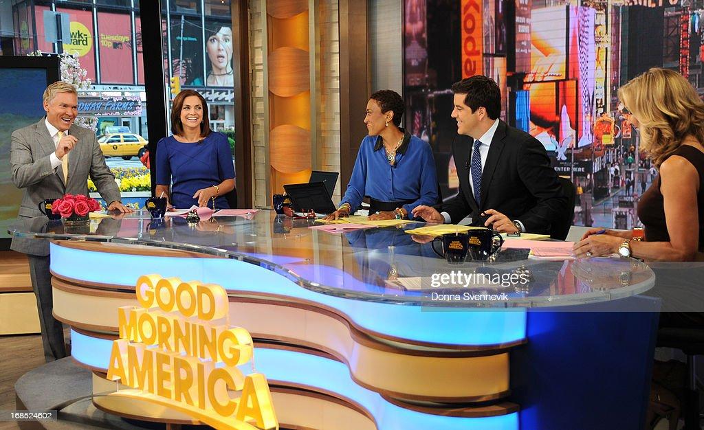 AMERICA - Sam Champion, Paula Faris, Robin Roberts, Josh Elliott and Lara Spencer co-anchor 'Good Morning America,' 5/10/13, airing on the ABC Television Network. (Photo by Donna Svennevik/ABC via Getty Images) SAM