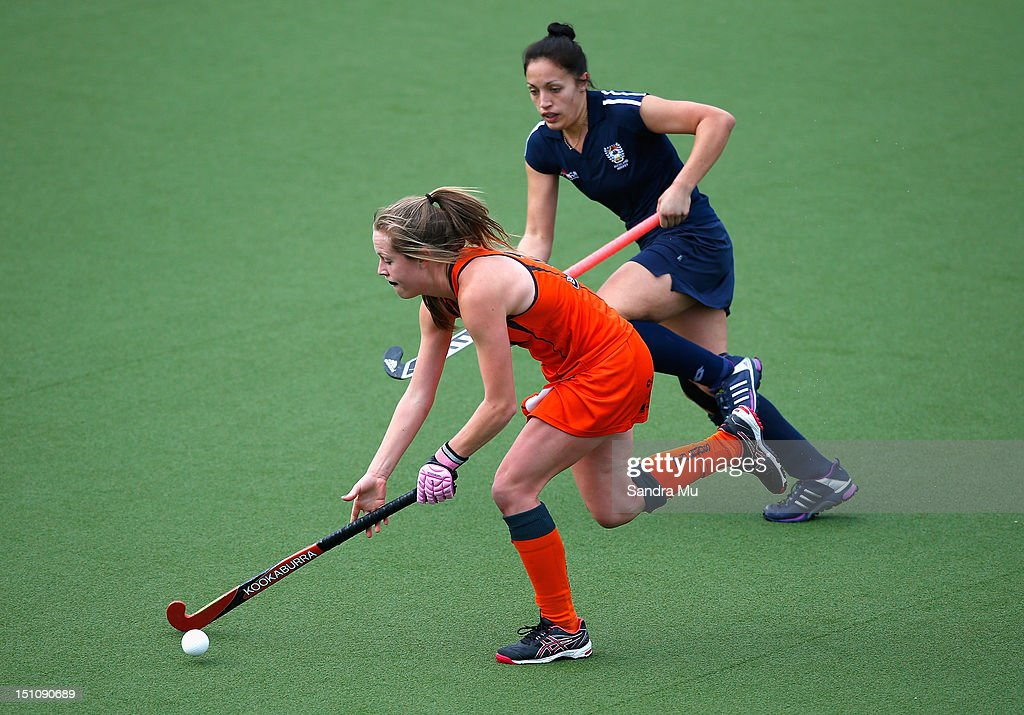 Sam Charlton of Midlands in action during the National Hockey League women's semi final at Lloyd Elsmore Park on September 1, 2012 in Auckland, New Zealand.