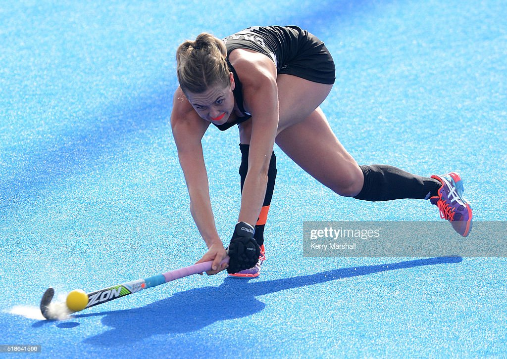 Sam Charlton of New Zealand makes a pass during the Festival of Hockey pool match, New Zealand v India, on Saturday, April 02, 2016 in Hastings, New Zealand.