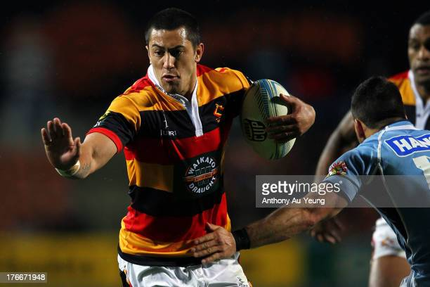 Sam Christie of Waikato on the charge during the round 1 ITM Cup match between Waikato and Northland at Waikato Stadium on August 17 2013 in Hamilton...