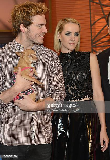 Sam Claflin and Jena Malone from The Hunger Games Catching Fire visit Despierta America at Univision Headquarters on November 4 2013 in Miami Florida