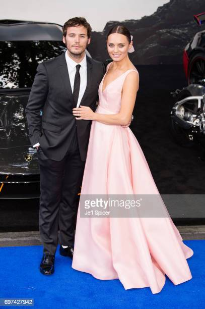 Sam Claflin and Laura Haddock attend the global premiere of 'Transformers The Last Knight' at Cineworld Leicester Square on June 18 2017 in London...
