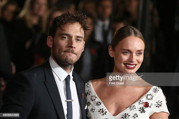 Sam Claflin and Laura Haddock attend the UK Premiere of 'The Hunger Games Mockingjay Part 2' at Odeon Leicester Square on November 5 2015 in London...