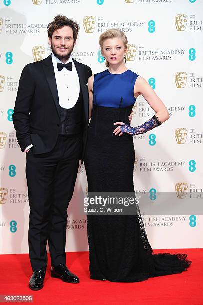 Sam Claflin and Natalie Dormer pose in the winners room at the EE British Academy Film Awards at The Royal Opera House on February 8 2015 in London...