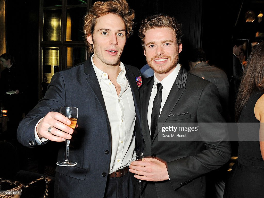 <a gi-track='captionPersonalityLinkClicked' href=/galleries/search?phrase=Sam+Claflin&family=editorial&specificpeople=7238693 ng-click='$event.stopPropagation()'>Sam Claflin</a> (L) and <a gi-track='captionPersonalityLinkClicked' href=/galleries/search?phrase=Richard+Madden&family=editorial&specificpeople=8954998 ng-click='$event.stopPropagation()'>Richard Madden</a> attend the Pre-BAFTA Party hosted by EE and Esquire ahead of the 2013 EE British Academy Film Awards at The Savoy Hotel on February 6, 2013 in London, England.