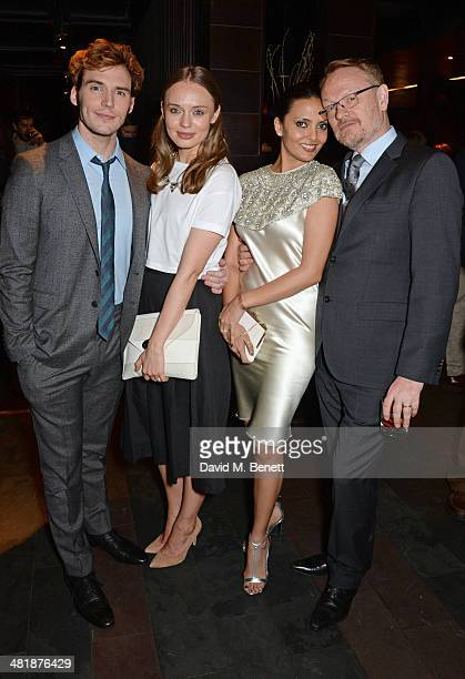 Sam Claflin Laura Haddock Allegra Riggio and Jared Harris attend an after party following the World Premiere of 'The Quiet Ones' at Mint Leaf...