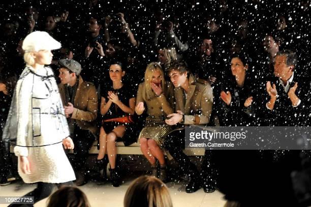 Sam Claflin Rachel Bilson Kate Boswroth Douglas Booth Stella Tennant and Mario Testino during the Burberry Prorsum Show at London Fashion Week...