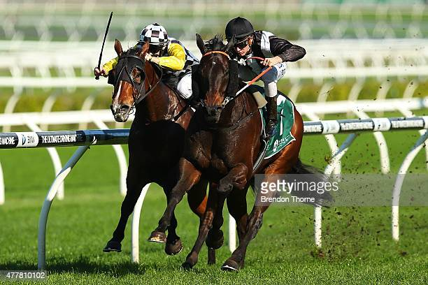 Sam Clipperton riding 'God's In Him' wins Race 2 All Too Hard @ Vinery Handicap during Sydney Racing at Royal Randwick Racecourse on June 20 2015 in...