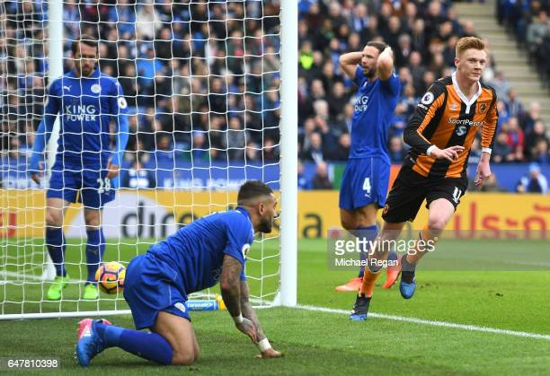 Sam Clucas of Hull City celebrates scoring his sides first goal during the Premier League match between Leicester City and Hull City at The King...