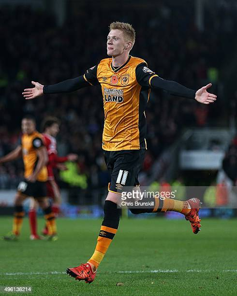 Sam Clucas of Hull City celebrates scoring his side's second goal during the Sky Bet Championship match between Hull City and Middlesbrough at the KC...