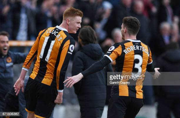 Sam Clucas of Hull City celebrates scoring his team's second goal with Andrew Robertson during the Premier League match between Hull City and Watford...