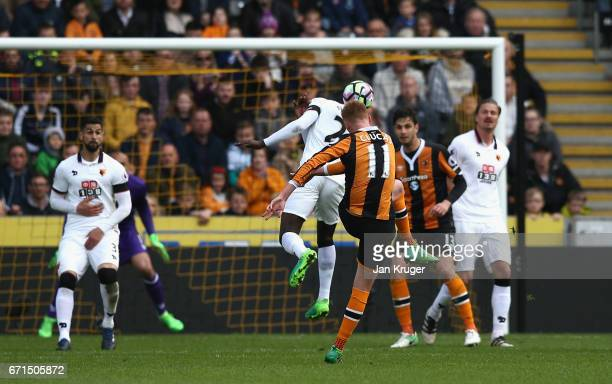 Sam Clucas of Hull City scores his team's second goal during the Premier League match between Hull City and Watford at the KCOM Stadium on April 22...
