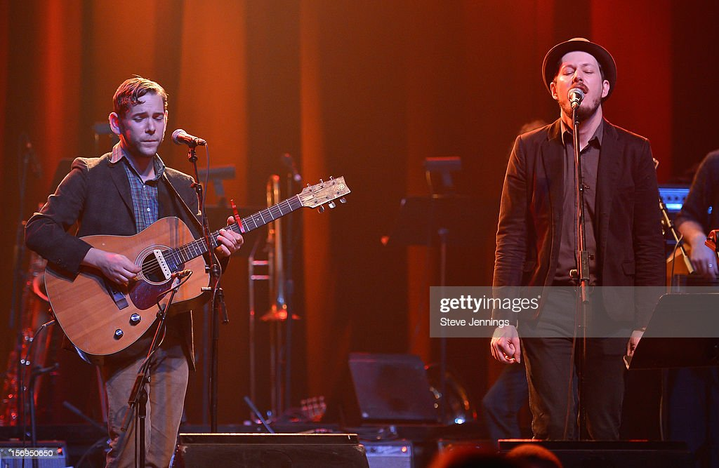 Sam Cohen and Andy Cabic of Vetiver perform at The Last Waltz Tribute Concert at The Warfield Theater on November 24, 2012 in San Francisco, California.