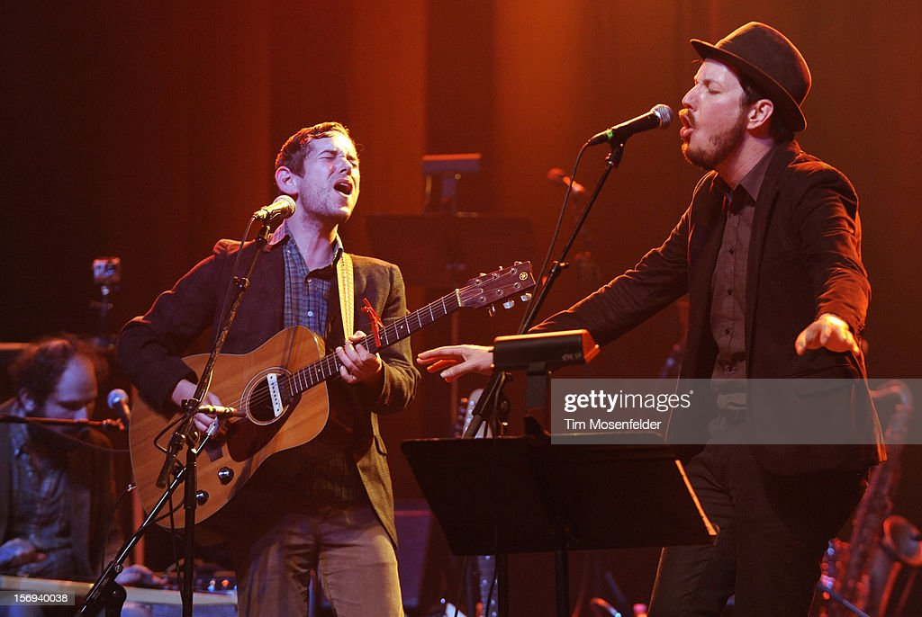 Sam Cohen (L) and Andy Cabic perform during The Last Waltz Tribute Concert at The Warfield on November 24, 2012 in San Francisco, California.