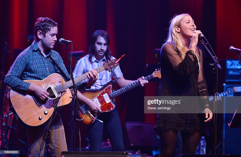 Sam Cohen and Blake Hazard (R) of The Submarines perform at The Last Waltz Tribute Concert at The Warfield Theater on November 24, 2012 in San Francisco, California.