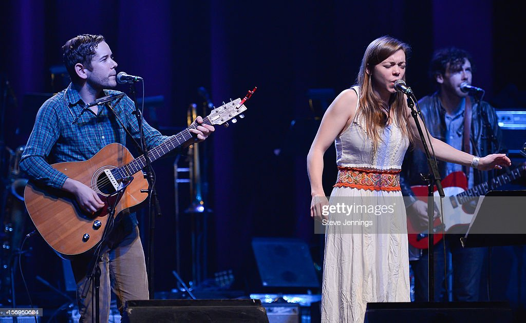 Sam Cohen and <a gi-track='captionPersonalityLinkClicked' href=/galleries/search?phrase=Jocie+Adams&family=editorial&specificpeople=5772905 ng-click='$event.stopPropagation()'>Jocie Adams</a> perform at The Last Waltz Tribute Concert at The Warfield Theater on November 24, 2012 in San Francisco, California.
