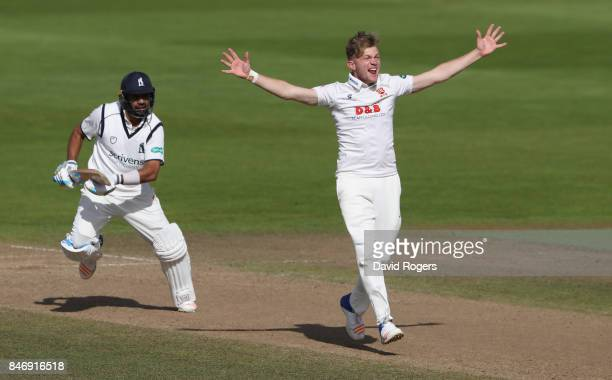 Sam Cook of Essex appeals for LBW against Jeetan Patel during the Specsavers County Championship Division One match between Warwickshire and Essex at...