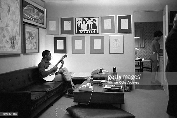 Sam Cooke plays guitar on November 30 1960 in Los Angeles California