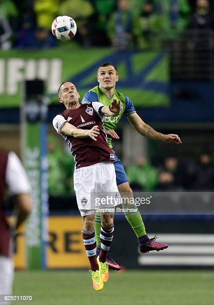 Sam Cronin left of the Colorado Rapids goes up for a header against Jermaine Jones of the Seattle Sounders duirng the first half of a match in the...