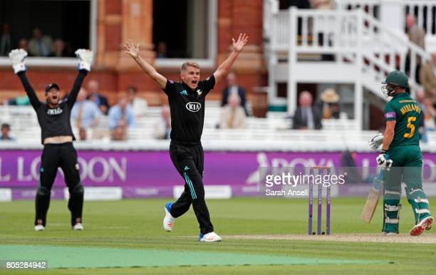 Sam Curran of Surrey appeals successfully for the wicket of Nottinghamshire's Steven Mullaney during the match between Nottinghamshire and Surrey at...