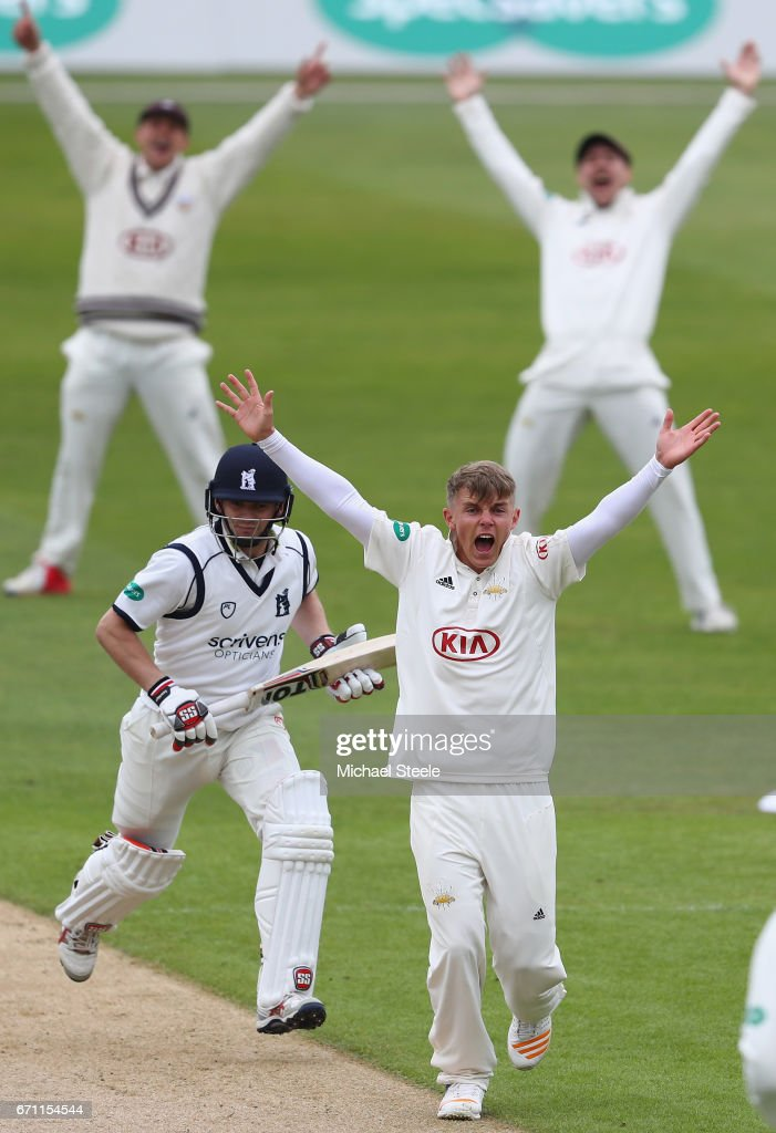 Sam Curran of Surrey appeals unsuccessfully for the wicket of William Porterfield of Warwickshire during day one of the Specsavers County Championship Division One match between Warwickshire and Surrey at Edgbaston on April 21, 2017 in Birmingham, England.