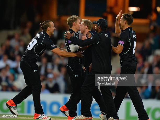 Sam Curran of Surrey celebrates taking the wicket of Joe Denly of Kent during the Royal London OneDay Cup Quarter Final match between Surrey and Kent...