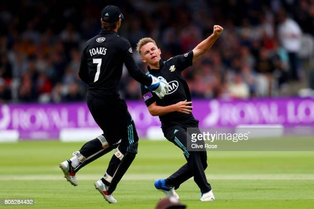 Sam Curran of Surrey celebrates the wicket of Steven Mullaney of Nottinghamshire during the Royal London OneDay Cup Final betwen Nottinghamshire and...