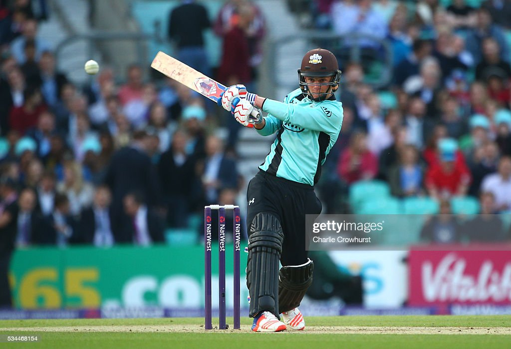 Sam Curran of Surrey hits out during the Natwest T20 Blast match between Surrey and Glamorgan at The Kia Oval on May 26, 2016 in London, England.