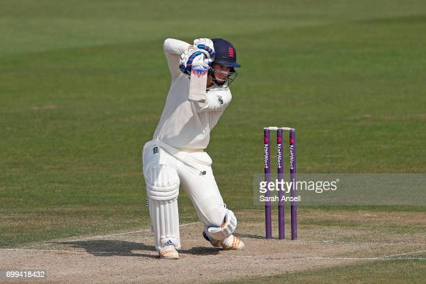 Sam Curran of the England Lions hits out during day 1 of the match between England Lions and South Africa A at The Spitfire Ground on June 21 2017 in...