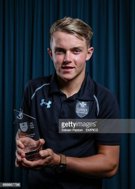 Sam Curran poses with his Kia Young Player award during the Surrey End of season awards