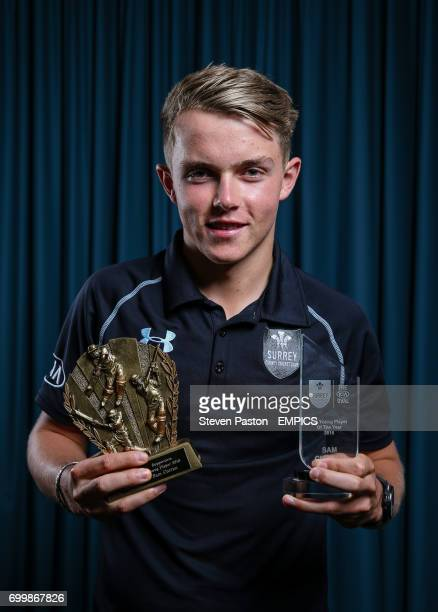 Sam Curran poses with his Supporters Young Player and Kia Young Player awards during the Surrey End of season awards