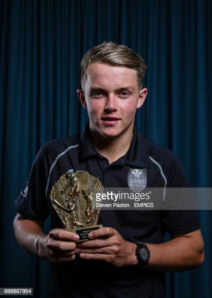 Sam Curran poses with his Supporters Young Player award during the Surrey End of season awards
