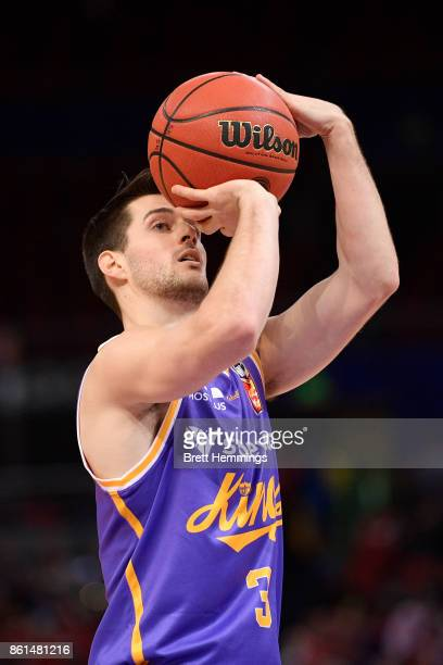Sam Daly of the Kings shoots during the round two NBL match between the Sydney Kings and the Illawarra Hawks at Qudos Bank Arena on October 15 2017...