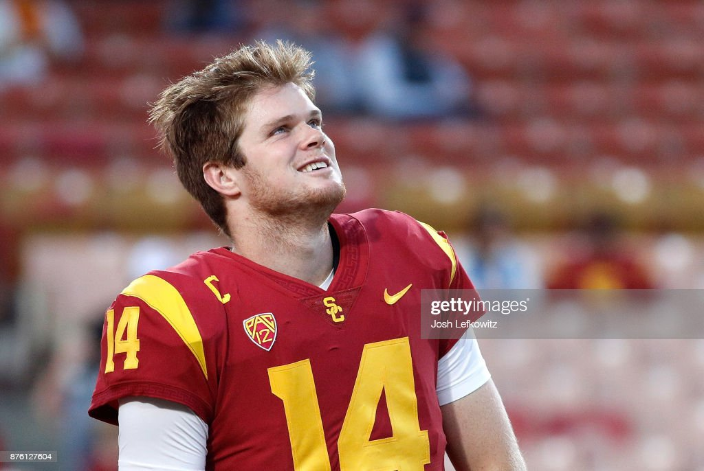 Sam Darnold #14 of the USC Trojans is seen before the the NCAA college football game against the UCLA Bruins at the Los Angeles Memorial Coliseum on November 18, 2017 in Los Angeles, California.