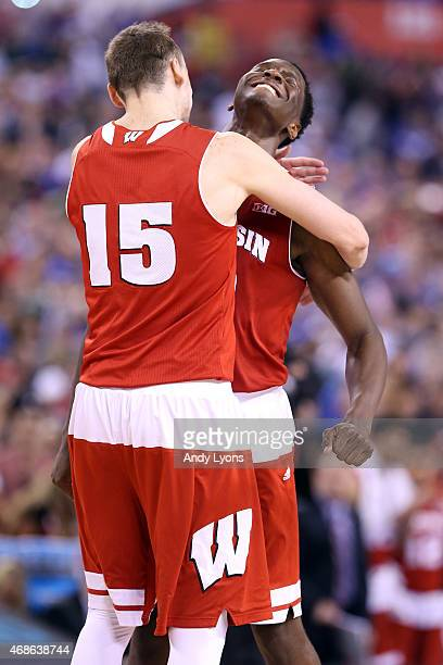 Sam Dekker and Nigel Hayes of the Wisconsin Badgers celebrate after defeating the Kentucky Wildcats during the NCAA Men's Final Four Semifinal at...