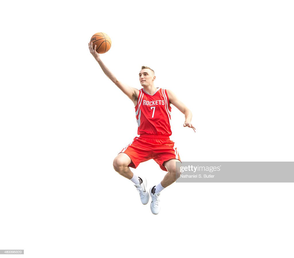Sam Dekker of the Houston Rockets poses for a portrait during the 2015 NBA rookie photo shoot on August 8 2015 at the Madison Square Garden Training...