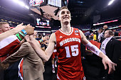 Sam Dekker of the Wisconsin Badgers celebrates after defeating the Kentucky Wildcats during the NCAA Men's Final Four Semifinal at Lucas Oil Stadium...