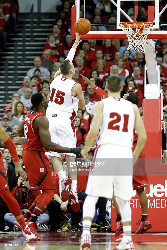 Sam Dekker #15 of the Wisconsin Badgers drives to the hoop during the second half against the Nebraska Cornhuskers at Kohl Center on January 15, 2015 in Madison, Wisconsin.