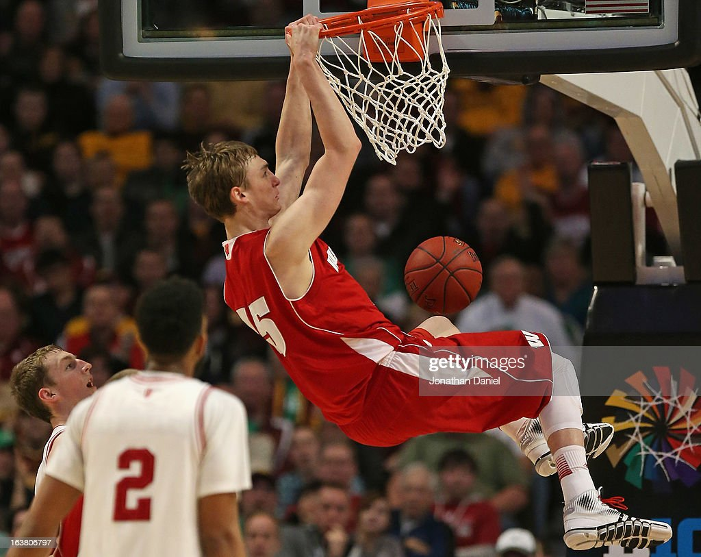 Sam Dekker #15 of the Wisconsin Badgers dunks on the Indiana Hoosiers during a semifinal game of the Big Ten Basketball Tournament at the United Center on March 16, 2013 in Chicago, Illinois.
