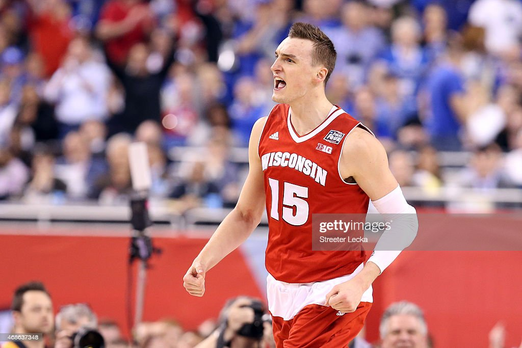 <a gi-track='captionPersonalityLinkClicked' href=/galleries/search?phrase=Sam+Dekker&family=editorial&specificpeople=7887140 ng-click='$event.stopPropagation()'>Sam Dekker</a> #15 of the Wisconsin Badgers reacts after a play late in the second half against the Kentucky Wildcats during the NCAA Men's Final Four Semifinal at Lucas Oil Stadium on April 4, 2015 in Indianapolis, Indiana.