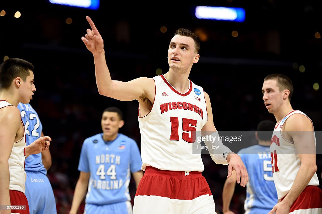 <a gi-track='captionPersonalityLinkClicked' href=/galleries/search?phrase=Sam+Dekker&family=editorial&specificpeople=7887140 ng-click='$event.stopPropagation()'>Sam Dekker</a> #15 of the Wisconsin Badgers reacts in the first half while taking on the North Carolina Tar Heels during the West Regional Semifinal of the 2015 NCAA Men's Basketball Tournament at Staples Center on March 26, 2015 in Los Angeles, California.