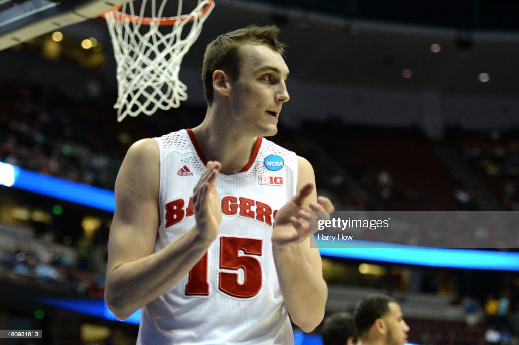 <a gi-track='captionPersonalityLinkClicked' href=/galleries/search?phrase=Sam+Dekker&family=editorial&specificpeople=7887140 ng-click='$event.stopPropagation()'>Sam Dekker</a> #15 of the Wisconsin Badgers reacts in the first half while taking on the Baylor Bears during the regional semifinal of the 2014 NCAA Men's Basketball Tournament at the Honda Center on March 27, 2014 in Anaheim, California.