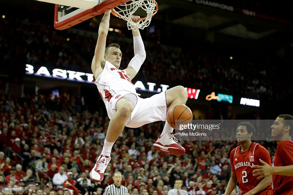 Sam Dekker #15 of the Wisconsin Badgers throw down a two handed dunk during the first half against the Nebraska Cornhuskers at Kohl Center on January 15, 2015 in Madison, Wisconsin.